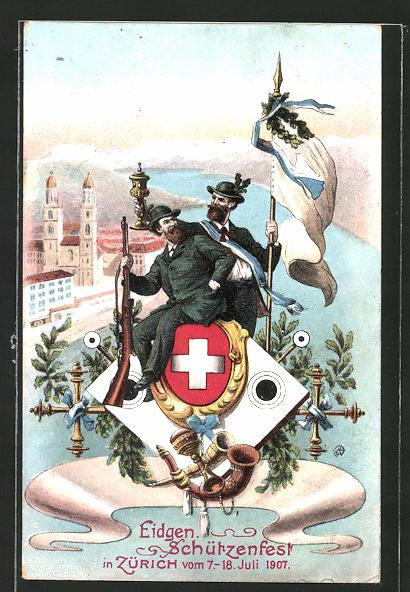AK Zürich, Eidgen. Schützenfest 1907, Stadtblick und Schützen mit Wappen und Fahne