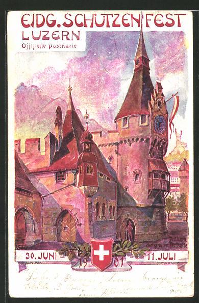 Künstler-AK Luzern, Eidgenössiches Schützenfest 1901, Zeitturm der grossen Festhalle