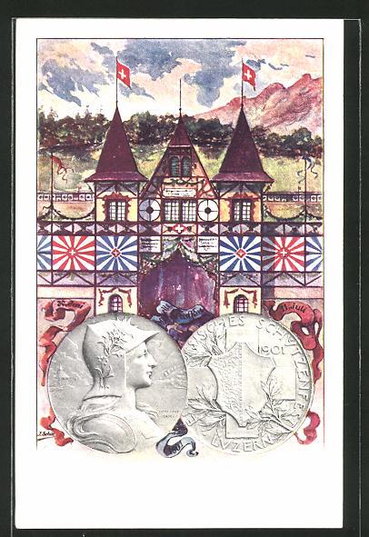 Künstler-AK Luzern, Eidgenössiches Schützenfest 1901, Festsaal und geprägte Münzen