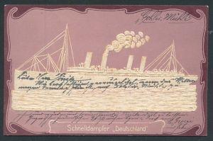 Relief-AK Darstellung des Passagierschiffes
