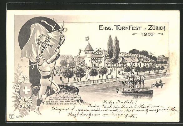 AK Zürich, Eidg. Turnfest 1903, Turner mit Sieges-Lorbeer