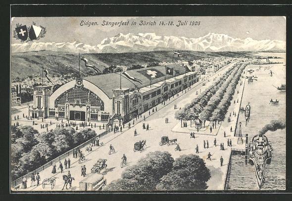 AK Zürich, eidgenössisches Sängerfest 1905, Blick auf das Veranstaltungsgelände