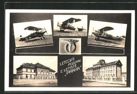 AK Prag, Doppeldecker-Flugzeuge vor dem Start