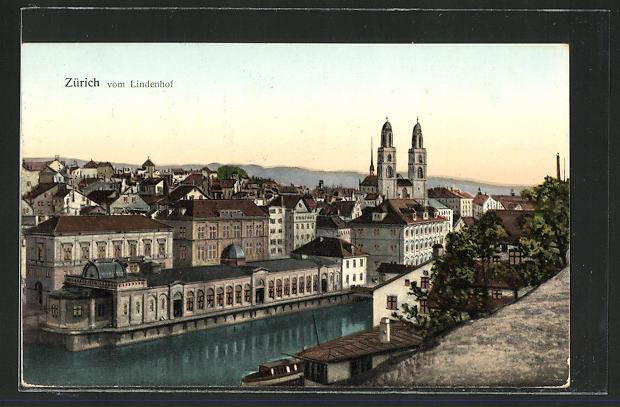 Goldfenster-AK Zürich, Ortsansicht vom Lindenhof gesehen, mit leuchtenden Fenstern