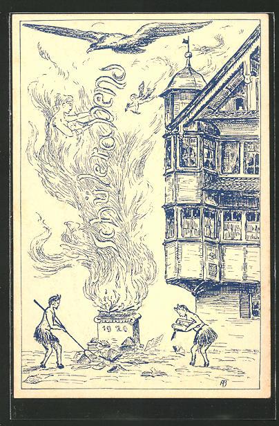 AK Absolvia, Teufel macht Feuer im Kessel Nr. 8070359 - oldthing ...