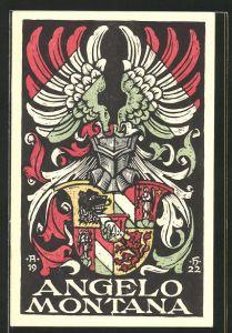 AK Studentenwappen der Angelo Montana, Ritterhelm mit Wappen