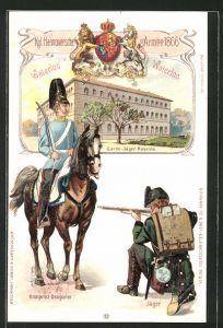 Lithographie Kgl. Hannoversche Armee 1866, Garde-Jäger-Kaserne, Kronprinz-Dragoner und Jäger