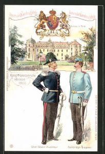Lithographie König. Hannoversche Armee 1866, Schloss in Celle, Ober-Stabs-Auditeur und Cambridge-Dragoner