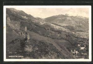 AK Grüsch, Panorama mit Burgruine Solavers