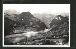 AK Grüsch, Ortspanorama mit Gebirge