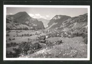 AK Grüsch, Ortspartie im Gebirge