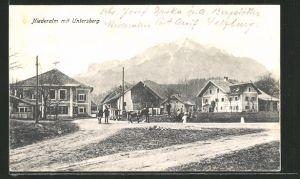 AK Niederalm, Strassenpartie mit Blick zum Untersberg