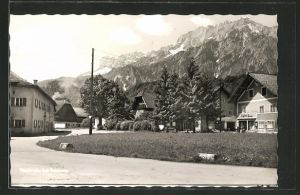 AK Niederalm, Ortspartie mit Häusern, Alpenkette
