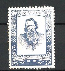 Reklamemarke Verein Südmähren Graz, Porträt Franz Stelzhamer