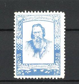 Reklamemarke Verein Südmark Graz, Porträt Franz Stelzhamer, blau