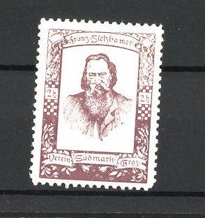 Reklamemarke Verein Südmark Graz, Porträt Franz Stelzhamer, braun