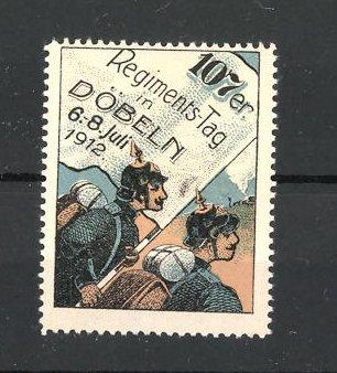 Reklamemarke Döbeln, 107er Regimentstag 1912