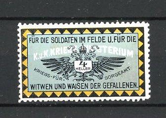 Reklamemarke Kriegsfürsorgeamt, für die Soldaten im Felde und für die Witwen und Waisen der Gefallenen