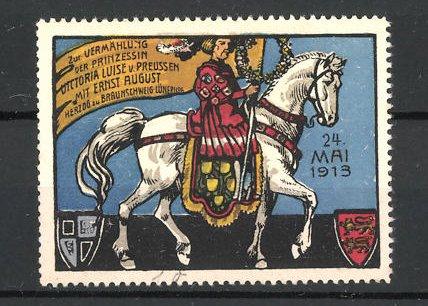Reklamemarke zur Vermählung der Prinzessin Victoria Luise v. Preussen mit Ernst August 1913, Adliger zu Pferde