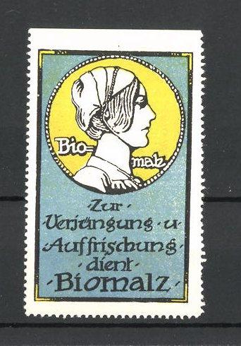 Reklamemarke Biomalz zur Verjüngung und Auffrischung, Mädchenporträt