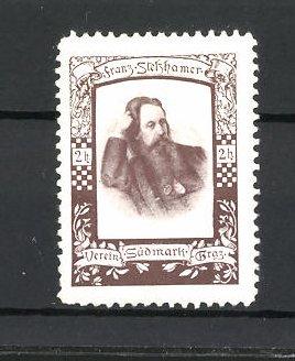 Reklamemarke Verein Südmark Graz, Porträt Franz Stelzhamer