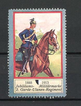 Reklamemarke Soldat auf Pferd vom 2. Garde-Ulanen-Regiment