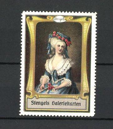 Reklamemarke Stengels Galeriekarten, Frau in toller Kleidung