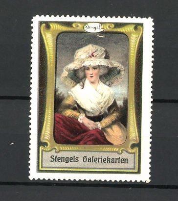 Reklamemarke Stengels Galeriekarten, Frau mit schönem Hut
