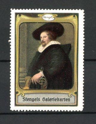 Reklamemarke Stengels Galeriekarten, Mann in fürstlicher Kleidung