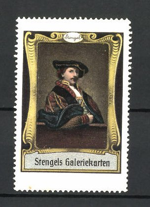 Reklamemarke Stengels Galeriekarten, eleganter Herr