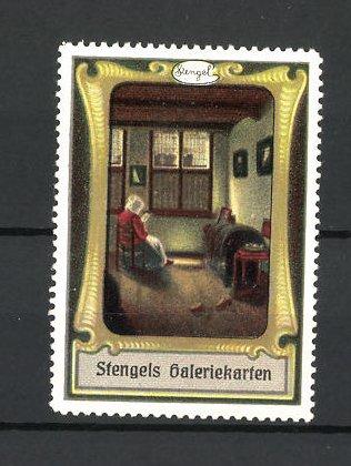 Reklamemarke Stengels Galeriekarten, Frau im Zimmer