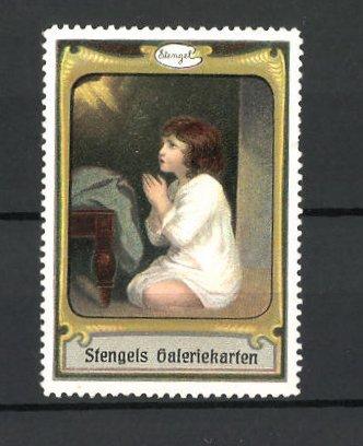 Reklamemarke Stengels Galeriekarten, betendes Kind