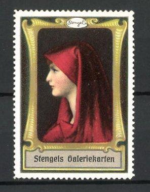Reklamemarke Stengels Galeriekarten, Frau mit toller Kopfbedeckung