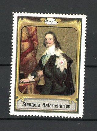 Reklamemarke Stengels Galeriekarten, Mann im tollen Kostüm