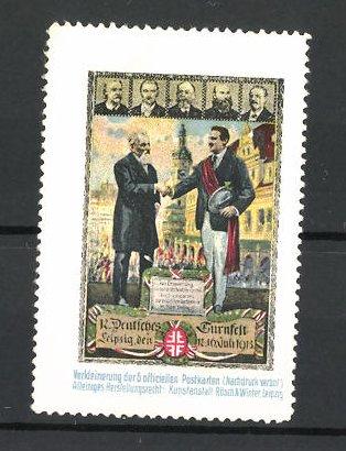 Reklamemarke Leipzig, 12. Deutsches Turnfest 1913, Turnvater Jahn und andere Turngrössen