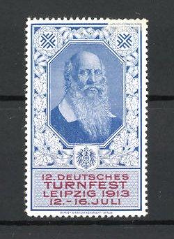 Reklamemarke Leipzig, 12. Deutsches Turnfest 1913, Porträt Turnvater Jahn