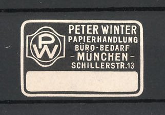 Reklamemarke München, Papierhandlung und Bürobedarf Peter Winter