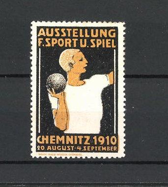 Reklamemarke Chemnitz, Ausstellung Sport und Spiel 1910, Kugelstosser