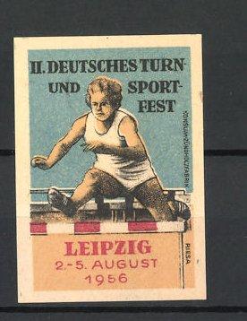 Reklamemarke Leipzig, II. Deutsches Turn- und Sportfest 1956, Hürdenläuferin