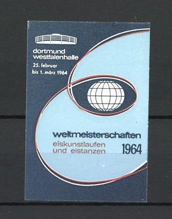 Reklamemarke Dortmund, Westfalenhalle, Weltmeisterschaften im Eiskunstlaufen 1964