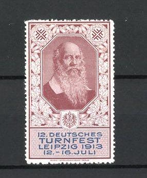 Reklamemarke Leipzig, 12. Deutsches Turnfest 1913, Porträt Turnvater Jahn, braun
