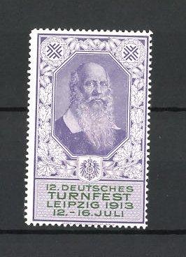 Reklamemarke Leipzig, 12. Deutsches Turnfest 1913, Porträt Turnvater Jahn, blau