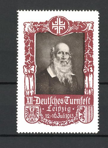 Reklamemarke Leipzig, 12. Deutsches Turnfest 1913, Porträt Turnvater Jahn, rot