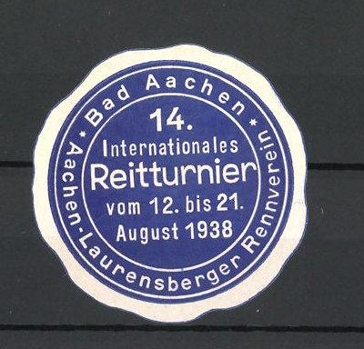 Reklamemarke Bad Aachen, 14. Internationale Reitturnier 1938