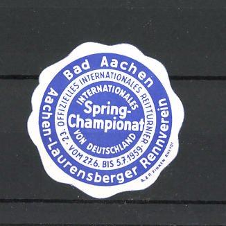 Reklamemarke Bad Aachen, 23.Offizielles Internationales Reitturnier 1959