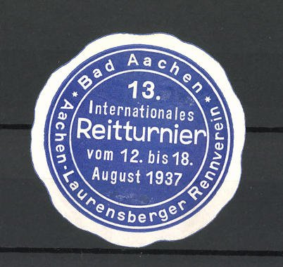 Reklamemarke Bad Aachen, 13. Internationales Reitturnier 1937