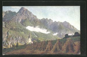 AK Leisach, Fernansicht mit Blick zur Kirche