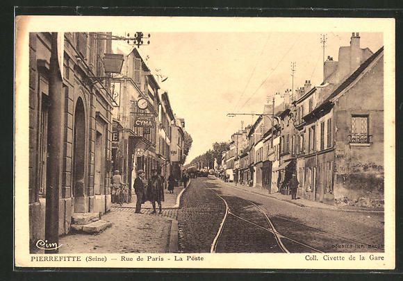 AK Pierrefitte, Rue de Paris, La Poste