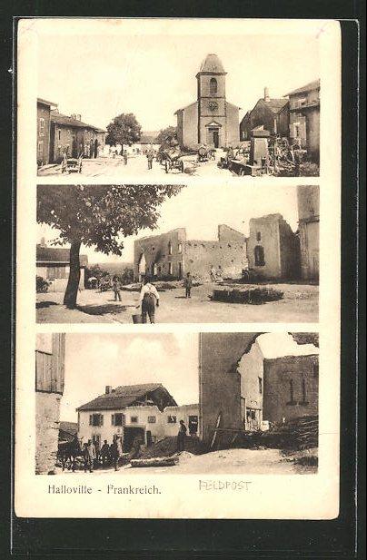 AK Halloville, zerstörte Häuser und Kirchen