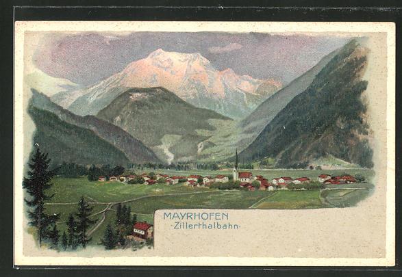 AK Mayrhofen, Gesamtansicht mit Umgebung 0